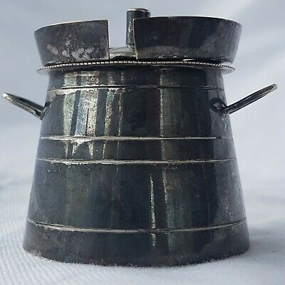 Unusual Silver Plate (E.P.N.S) Milk Churn Form Mustard Pot ~ Curiosity ~ Unique 5