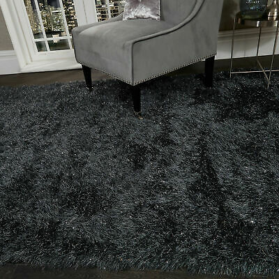 5.5cm Black Large SHAGGY Floor RUG Soft SPARKLE Shimmer Glitter Thick Pile 4