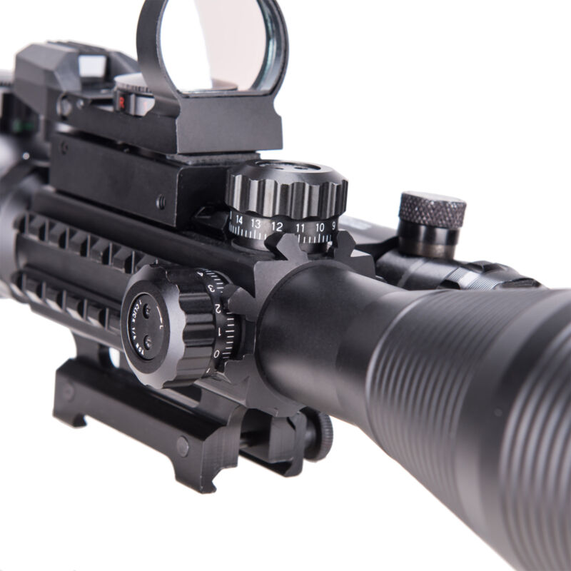Pinty 4-12X50 Tactical Rangefinder Reticle Rifle Scope Green Laser & Dot Sight 10