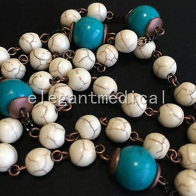 White Turquoise & bule Turquoise beads Vintage Catholic Rosary Cross Necklace 5