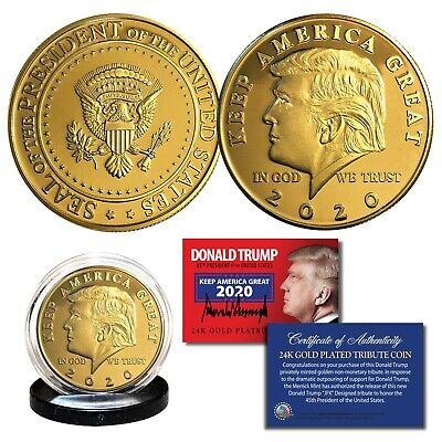 Donald Trump 2020 Keep America Great 45th President 24K Gold Plated Tribute Coin 2