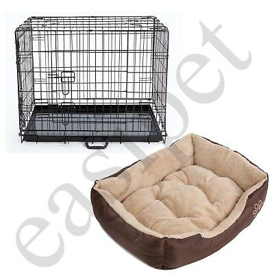 Dog Cage with Bed Training Metal Crate Puppy Pet Cat Carrier XS S M L XL XXL 10
