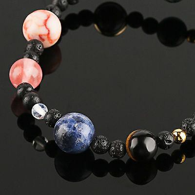 Neue Weben Armband Galaxy Sonnensystem Acht Planeten Thema Naturstein Perlen DE 7