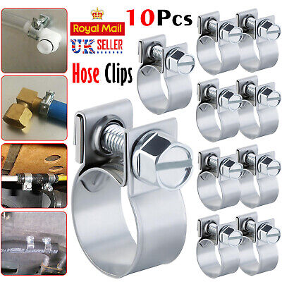 10 X Mini Hose Jubilee HOSE Clip Clamp Fuel Line Diesel Petrol Pipe Clamps Clips