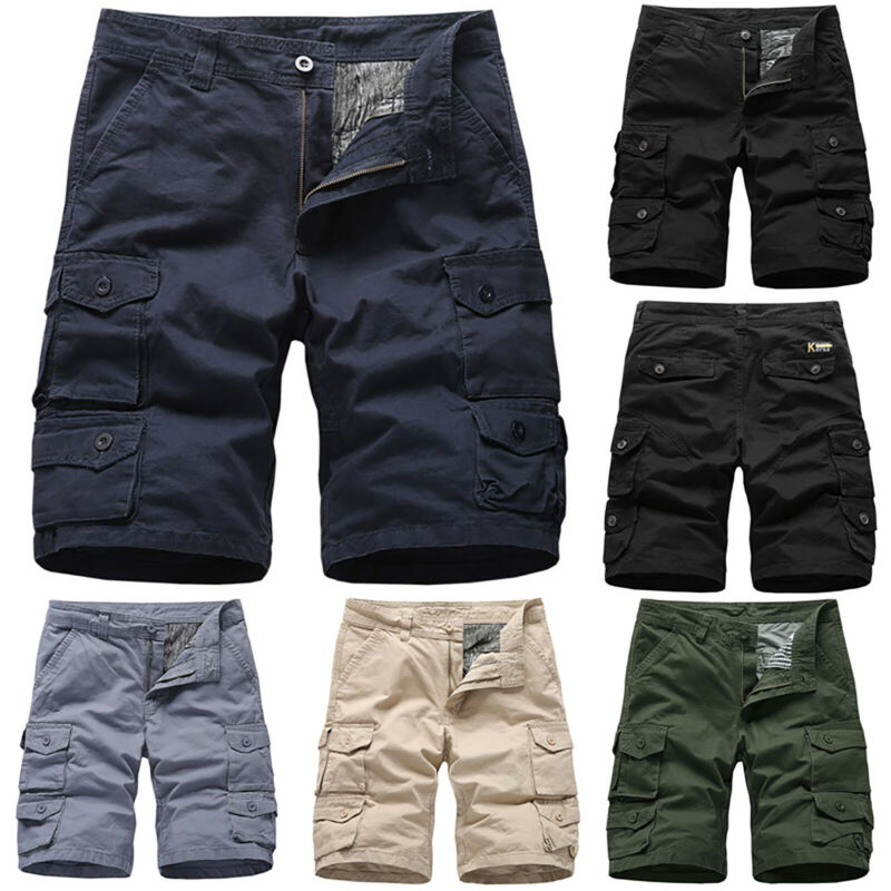 Mens Cargo Combat Work Shorts Trousers Army Military Hiking Camping Half Pants 8