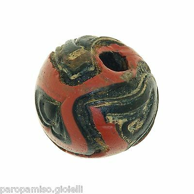 Early Islamic folded Glass Bead large size. (0429) 9