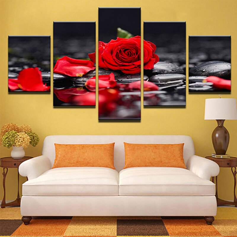 5 Panels Unframed Modern Canvas Art Oil Painting Picture Room Wall Hanging Decor 8