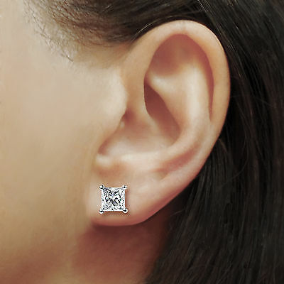 3.1 Ct Solitaire Princess Cut Stud Earrings Lab Diamond 14K White Gold Screwback 6