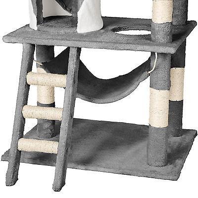 Arbre à chat griffoir grattoir geant avec hamac lit 141 cm hauteur gris blanc 6