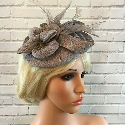 Ladies Silver Grey Fascinator Sinamay Flower Feathers Wedding Races Ascot 4