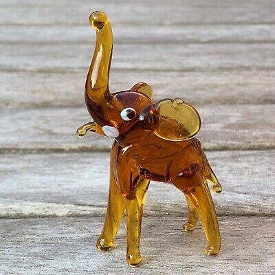 "VTG Italian Murano Art Glass Miniature Animal Figurine Amber Elephant 2 5/8"" 2"