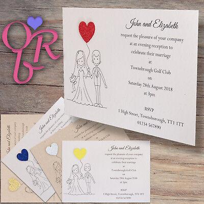 50 wedding invitations evening invites personalised handmade with 2 of 7 50 wedding invitations evening invites personalised handmade with envelopes filmwisefo