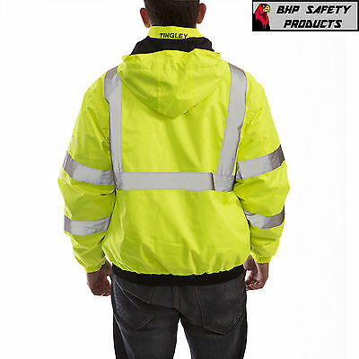 Hi-Vis Insulated Safety Bomber Reflective Jacket ROAD WORK HIGH VISIBILITY 3