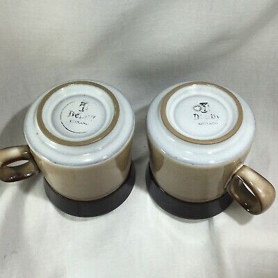 "Pair of Denby Country Cuisine Mugs Coffee Cup Brown  Tan 3 3/4"" Mid Century Look 7"