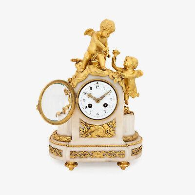 French Napoleon III ormolu clock, pendulette, putti Cupid signed Vincenti & Cie 2