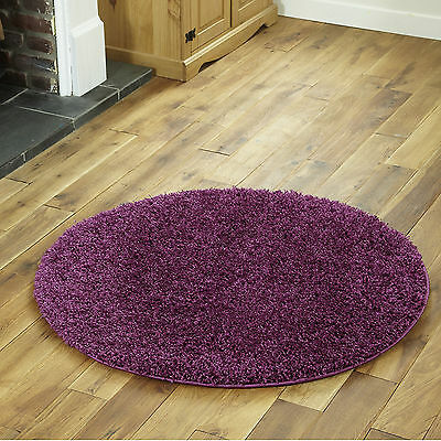 Small To Extra Large Thick 5Cm High Pile Non-Shed Aubergine Shaggy Purple Rug 5