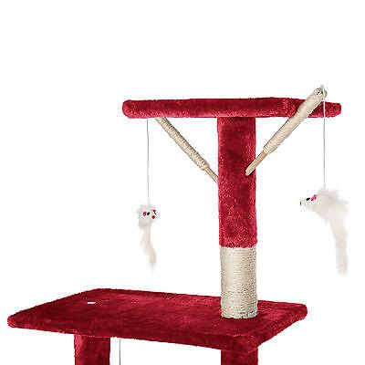 Arbre à chat griffoir grattoir jouet animaux douillet et peluché bordeaux 8