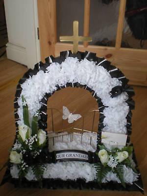 Artificial Silk Funeral Flower Gates of Heaven Wreath Memorial Tribute False 2