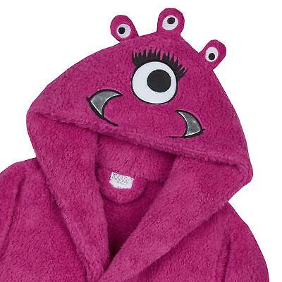 Girls Monster Dressing Gown Robe Snuggle Fleece Pink Kids Childrens Novelty 2