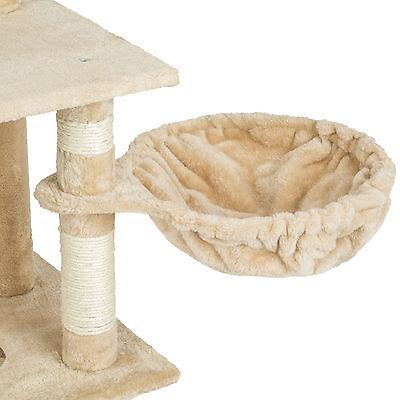 Arbre à chat griffoir grattoir animaux geant avec hamac lit 141 cm hauteur beige 4