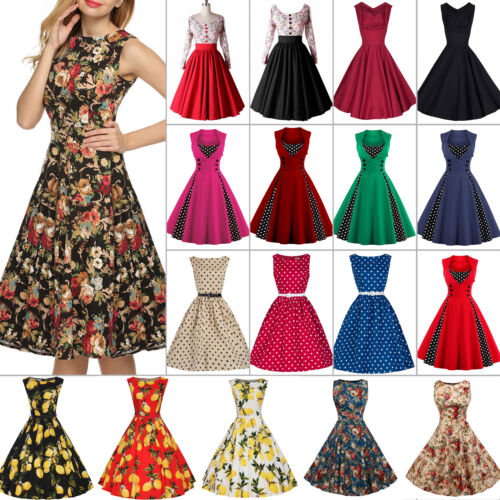 Womens 50s 60s Vintage Rockabilly Pinup Swing Floral Cocktail Party Formal Dress