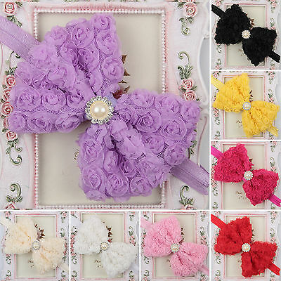 Newborn Kids Girls Headband Ribbon Elastic Baby Headdress Hair Band Bow Knot 11