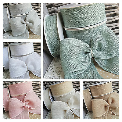 12mm 25mm 38mm Soft Woven Edge Ribbon Tape Slate Grey Natural Ivory White Chic