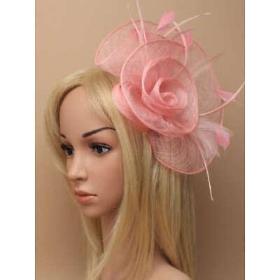 Rose pink large fascinator on hair clip 2