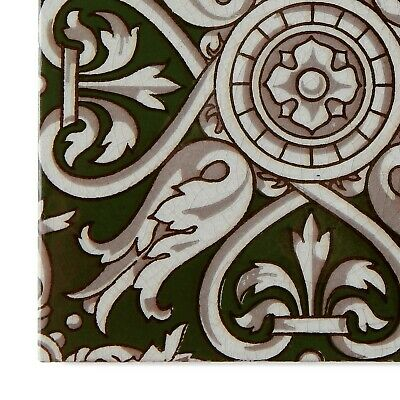 Antique Tile Victorian Aesthetic Gothic Arts Crafts Floral Lea Hearth Green Gray 6