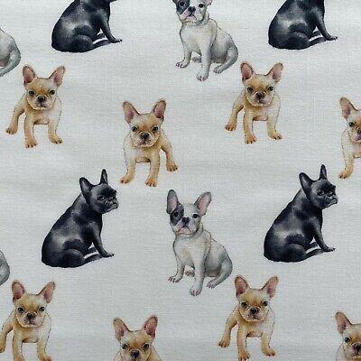 Bulldog in glasses 100/% Cotton Fabric Price per 1//2 metre