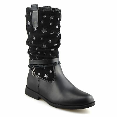 Girls Kids Childrens Zip Up School Winter Casual Mid Calf Biker Boots Shoes Size 2