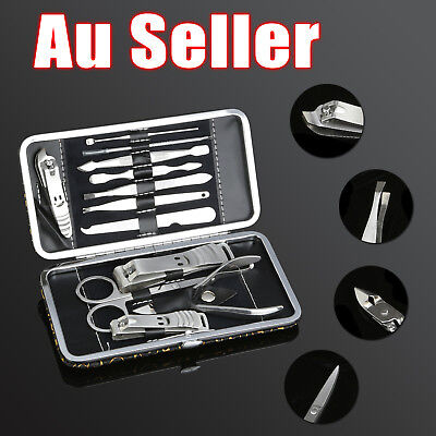 12PCS Manicure Pedicure Set Stainless Nail Clippers Kit Cuticle Grooming Case OZ 9