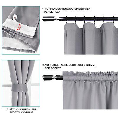 Gardinen Vorhang blickdicht mit Kräuselband Thermo Verdunkelung 250g/m2 #330-a 3