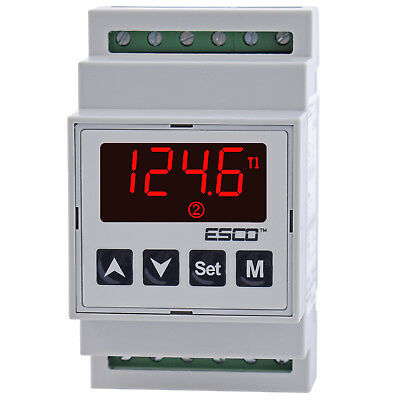 DIN Dual Temperature Controller two channel DOUBLE THERMOSTAT 2 SENSORS outputs 7