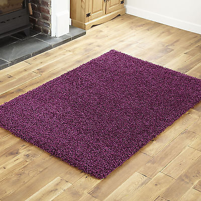 Small To Extra Large Thick 5Cm High Pile Non-Shed Aubergine Shaggy Purple Rug 2