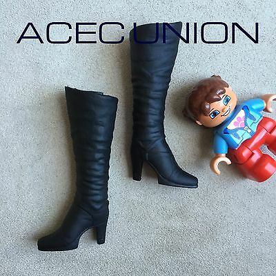 KUMIK 1//6 Black Widow Catwoman Black Long Boots For Phicen Female Figure U.S.A.
