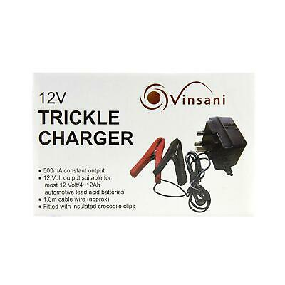 Vinsani Plug in Trickle Battery Charger 12v 500mA 9
