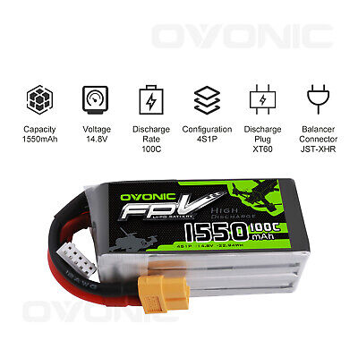2X Ovonic 100C 1550mAh 14.8V 4S Lipo Battery with XT60 Plug For FPV Quad Drone 11