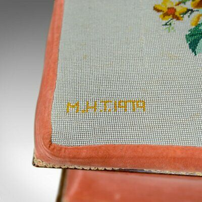 Antique Ottoman, Victorian, Needlepoint, Tapestry, Storage Chest, Foot Stool 7