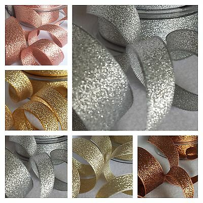3,7,15,25,40mm Berisfords Sparkly Lame Ribbon Rose Gold Silver Copper Glitter 2