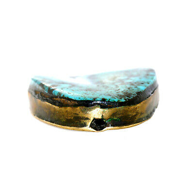 (2457) Antique Tibetan turquoises set in brass 4