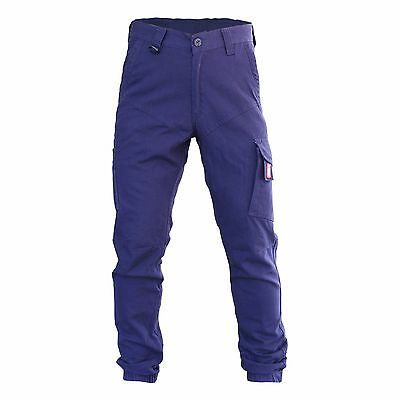 Mens Cargo Pants Trousers Elastic Banded ankle cuff, Cotton Work Wear Tapered 2