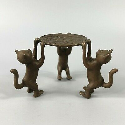 Exquisite Collectible Old Copper Handwork 3 Cats Chinese Candlestick Statue RN 2