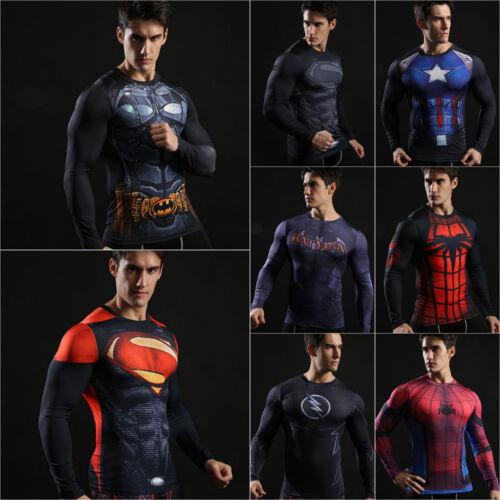 Men T-Shirt Compression Tops Superhero Avengers Marvel Muscle Fitness Shirt Tee
