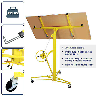 Yellow 16-19' Drywall Panel Lifter Hoist Jack Rolling Caster Lockable DIY Tool 2