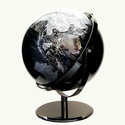 STUNNING HIGH QUALITY Double Axle World Globe Black Chrome Home Decor Gift 30cm 9