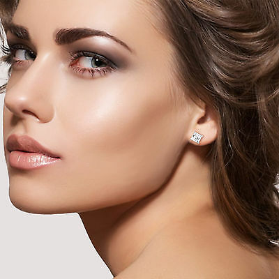 1.50Ct Asscher Cut Solitaire Stud Earrings Lab Diamond 14k White Gold Screw Back 2