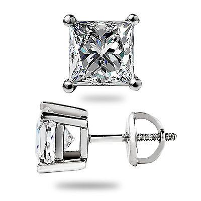 1fb25aa54 ... 1.50 Ct Princess Cut Lab Diamond Stud Earrings Solid 14K White Gold  Screw Back 8