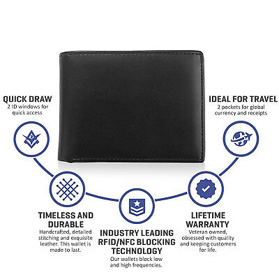 Mens RFID Blocking Leather High Capacity Bifold Wallet Slim Purse Black-Lot 4