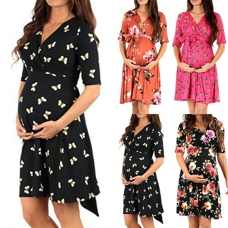 5c521f26713483 Pregnant Womens Floral Maternity Wrap V Neck Long Maxi Dress Photography  Prop US 3 3 of 7 See More